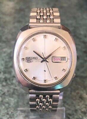 Vintage 1970 SEIKO 5 AUTOMATIC Mens 6119-7083 Weekdater Watch Full Working Order
