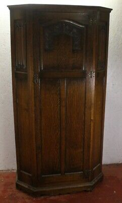 1920s Oak Hall Wardrobe with Linen Fold Panel