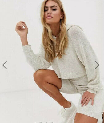 Asos Design Co Ord Knit Set Shorts And Hooded Top Beige Size 8