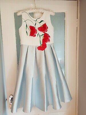 Immaculate Monsoon girls  sky blue with red occasion dress aged 12-13 years