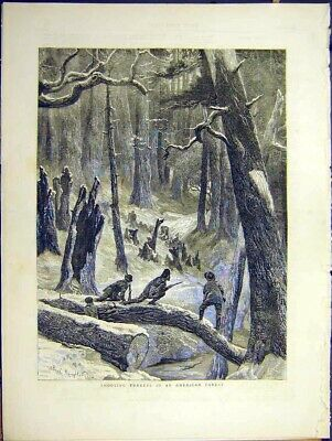 Original Old Antique Print Shooting Turkey American Forest Winter Snow Game 1871