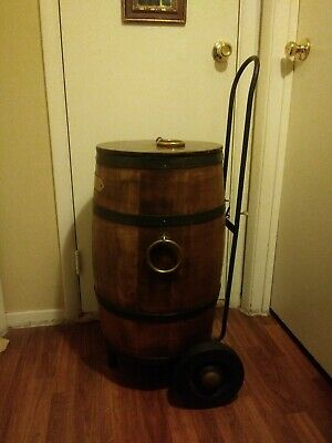 1940s Antique Wooden Barrel igloo with Original Dolly