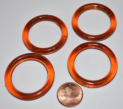 VINTAGE 4 TORTOISE light AMBER PLASTIC RINGS CIRCLES • 1.5 inches 33mm