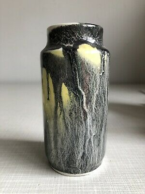 Mid Century Italian Black Yellow Marble Effect Pottery Cylinder Vase 1950s 60s