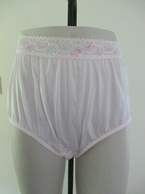 Vintage Panties Pink 100% Nylon Full Cut Briefs Usa Made Size 8 Lace Waist