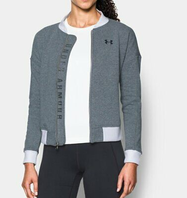 Under Armour Bomber Jacket Ladies Top Long Sleeve Size 8 XS Grey