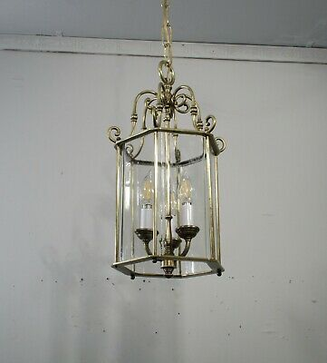 Antique Vintage Bronze 3 Light Pendant Glass Ceiling Light Fixture Lamp