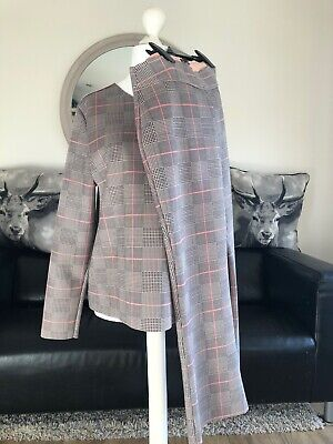 Zara Ladies Co-ordinated Brown Check Trouser And Top Size XL VGC
