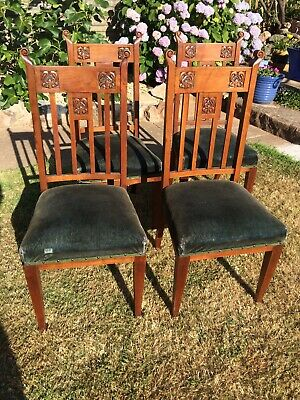 Arts and Crafts Antique Dinning Chairs Four