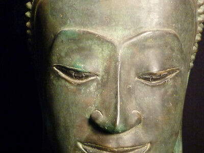 Chinese Ming Qing Dynasty Thai Old Cast Bronze Buddha Head Old Gold Gilt