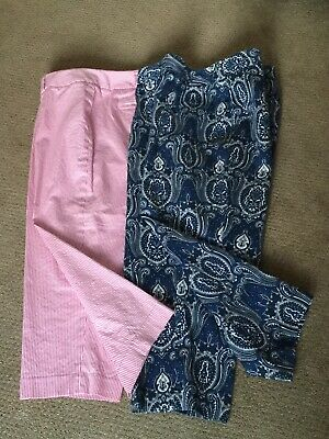 Lot of 2 Women's Talbots Capris Cotton/Lycra 16W red white striped blue paisley