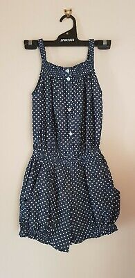 Girls GAP navy with white polka dot outfit playsuit size XXL fits size 10 - 12