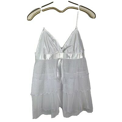 Fredricks of Hollywood xl nightie teddy lingerie white sheer bow sexy