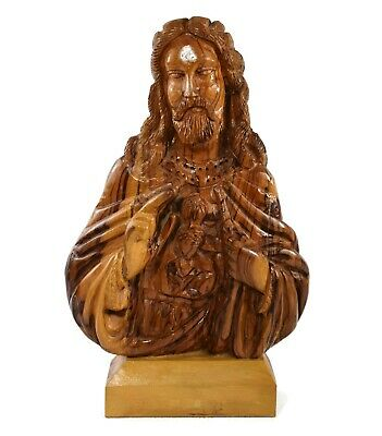 "Vintage Hand Carved Wood Jesus Christ Bust Statue on Stand Solid Wood 13"" Tall"