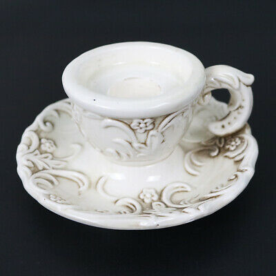 Vintage Inarco Made In Japan White Ceramic Floral Pattern Candlestick Holder