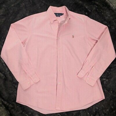 Polo Ralph Lauren Mens Oxford Shirt Long Sleeve Pink Custom Fit L EUC