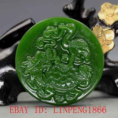 Chinese Natural Green Hetian Jasper Jade Hand Carved Dragon Turtle Pendant