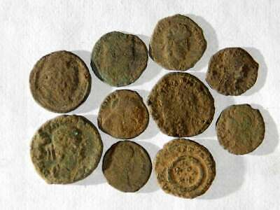 10 ANCIENT ROMAN COINS AE3 - Uncleaned and As Found! - Unique Lot 08203
