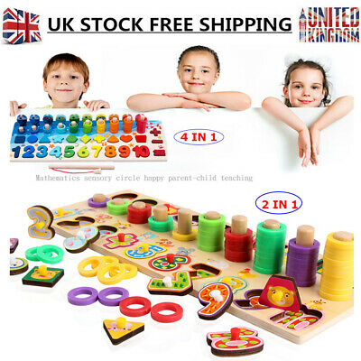 Montessori Numbers Matching Wooden Children Math Toys Count Learning Educational
