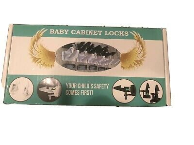 Cabinet Locks Child Safety Latch Baby Proof Lock Drawer 10 Pack White