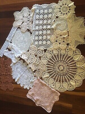 Bulk Lot of 16 Mixed Vintage Hand Crochet Lace Pieces Doilies Craft Ready to Use