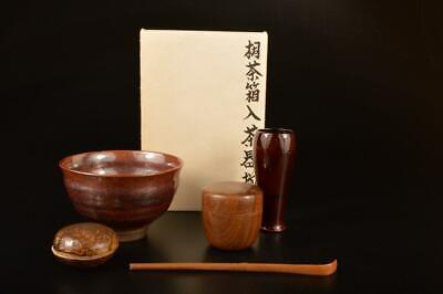 E5975: Japanese XF Wooden TEA CEREMONY BOX Chabako, Spoon Bowl Incense container