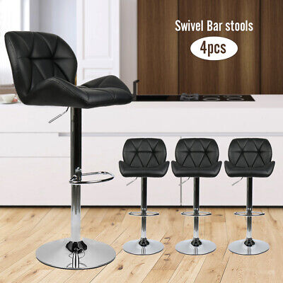 Kitchen Bar Stools Adjustable Height Swivel Dining Counter Chairs Black Set of 4