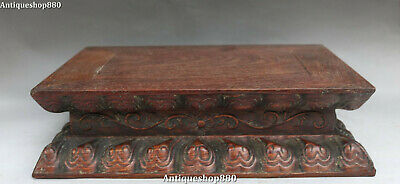 """12"""" Unique Chinese Huanghuali Wood Hand Carving Lotus Buddha Base Stand Statue"""