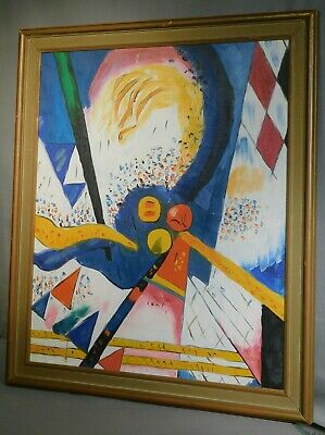 Vintage Signed Abstract Oil Painting Colorful AS IS 1960s Cubism 24x20 FRAMED