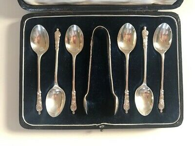 Fine Cased Set Of Silver Apostle Spoons & Tongs By Roberts & Belk Sheffield 1901
