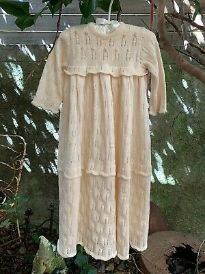 Lovely Antique Vintage Baby Knitted Dress Gown Cream Christening Doll Or Baby