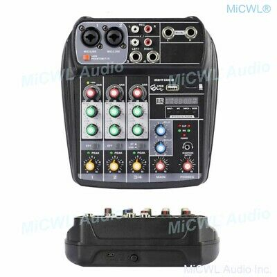 LX4 4 Channel Portable Audio Mixer Console DSP Bluetooth USB Cable connect PC