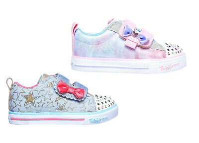 SKECHERS TWINKLE TOES Sparkle Glitter Strap Pink Lights