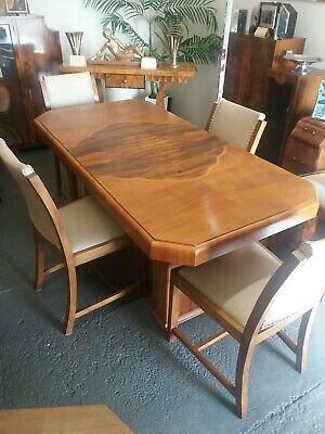 Art deco 1930s walnut stylish dining room table with four chairs.
