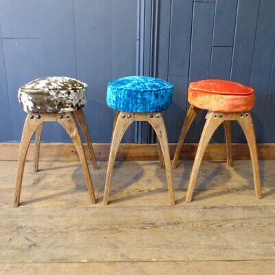 Atomic Style Upholstered Stools With Oak Legs