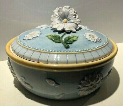 Rare Daisy Flower Tureen with Lid, Small Casserole Dish, Yellow, Blue & White