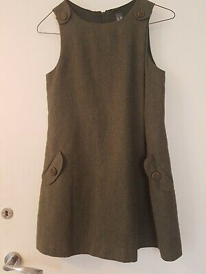 Pinafore Dress Girls Bottle Green 9/10