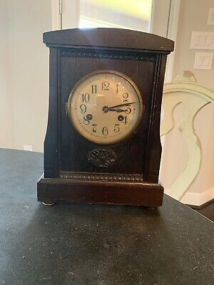 Vintage Mantle Clock Runs & Chimes For a Short While For Repair, Refurbishment.