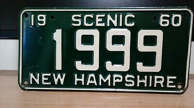 1960  New Hampshire FOUR DIGIT  License Plate Tag #1999