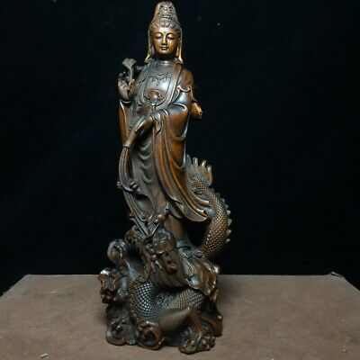Collect China Old Boxwood Hand-Carved Fallen Dragon Kwan-Yin Auspicious Statue