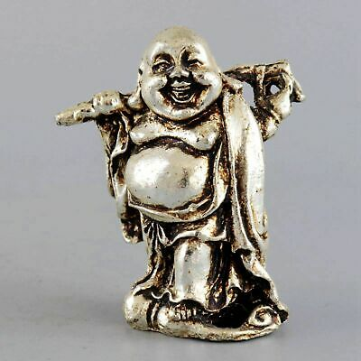 Collect Decor Old Tibet Silver Hand Carved Smile Buddha Auspicious Lucky Statue