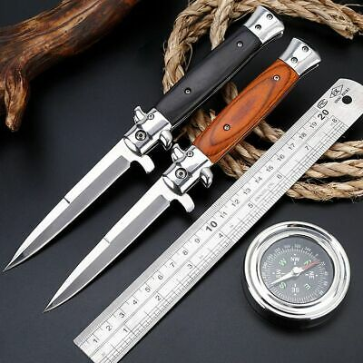 Folding Blade Pocket Knife Outdoor Survival Hunting Steel Wood Tactical Milano