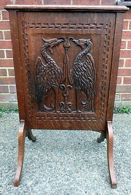 Arthur Simpson of Kendal style antique Arts & Crafts carved solid oak firescreen