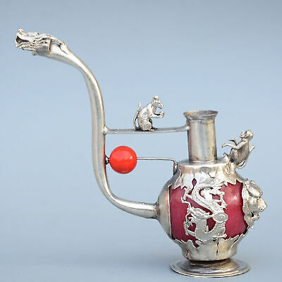 Collect China Old Miao Silver Armour Agate Carve Dragon & Monkey Tobacco Pipe