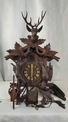 Large Carved Hunter Cuckoo Clock Black Forest