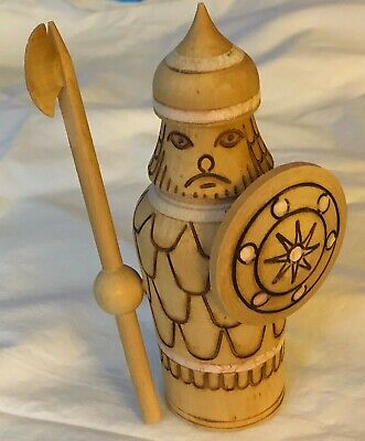 Vintage Russia Hand Carved Burned Wood Folk Art Man w Sword & Shield CYBEHNP