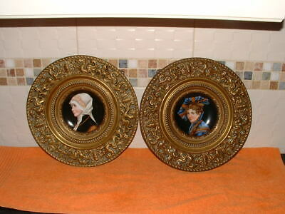 Arts & Crafts Brass Plaques, With Pottery Inserts