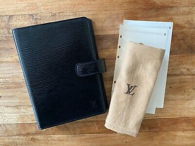 Authentic Louis Vuitton Agenda MM Black Epi Noir Electric - Diary Planner