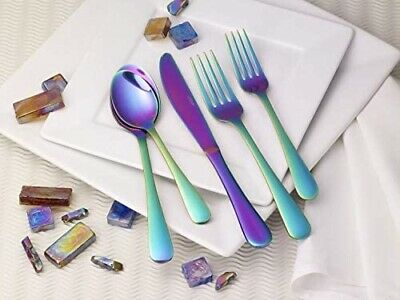 Lorena 20-Piece Iridescent Rainbow stainless steel Flatware service for 4