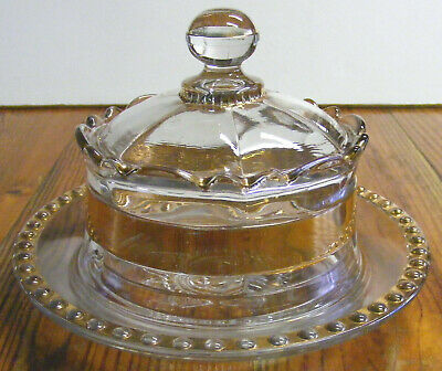 Vintage Formal Glass Butter Dish Crown Gold Trim Beaded Dish